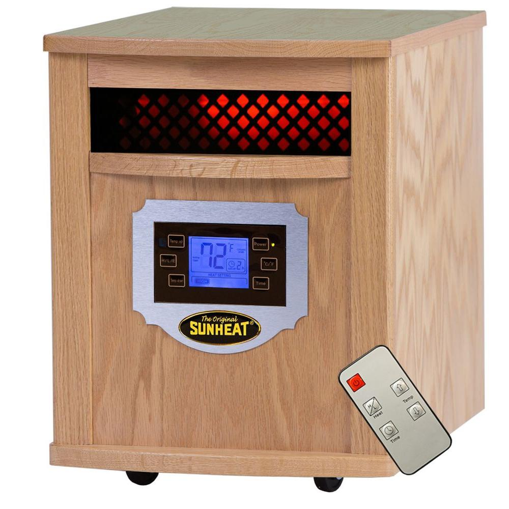 Sunheat 1500-Watt Infrared Electric Portable Heater with Remote Control, LCD Display and Made in USA Cabinetry - Golden Oak