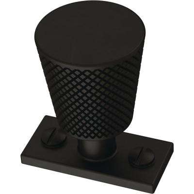 Knurled Industrial 1-3/16 in. (30 mm) Flat Black Cabinet Knob
