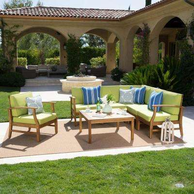 Giancarlo Teak 7-Piece Wood Outdoor Sectional Set with Green Cushions