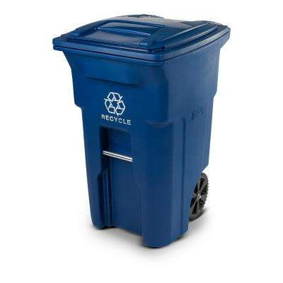 64 Gal. Blue Rollout Recycling Container with Attached Lid