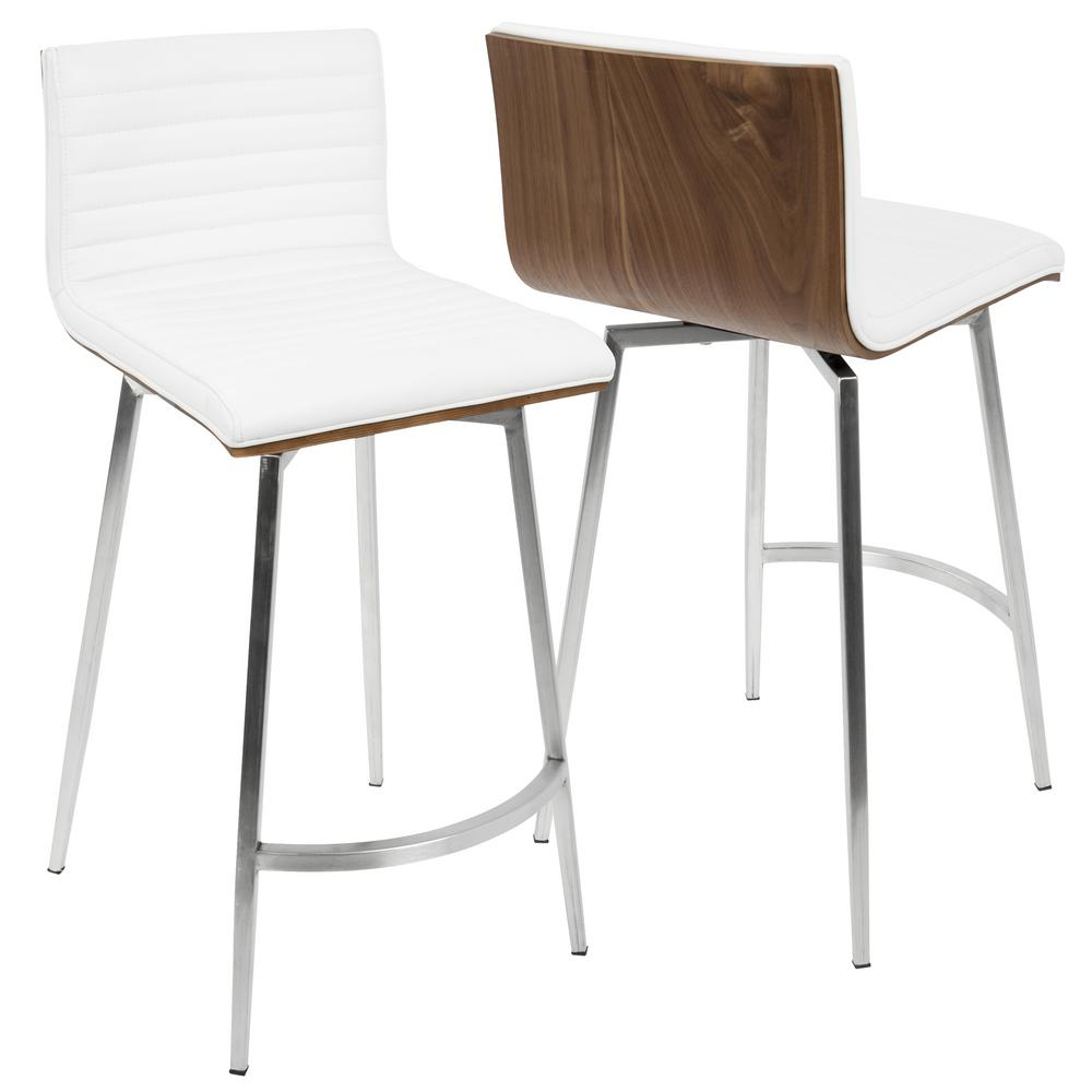 Lumisource Mason 26 In White Faux Leather Counter Stool