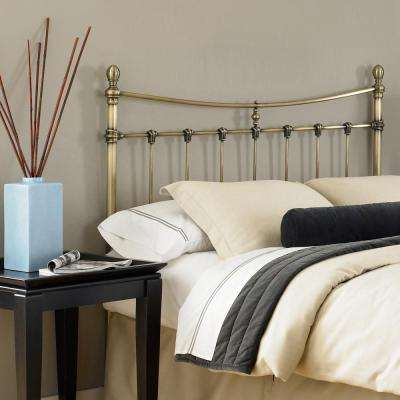 Leighton Full-Size Metal Headboard with Rounded Posts and Scalloped Castings, Antique Brass Finish, Full