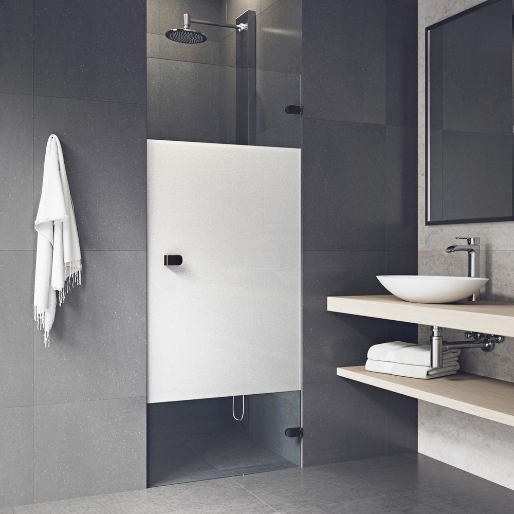 vigo tempo 28 in to 28 5 in x in adjustable frameless hinged shower door in antique. Black Bedroom Furniture Sets. Home Design Ideas