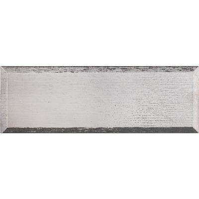 Gray Glisten Beveled 4 in. x 12 in. Glass Wall Tile (5 sq. ft. / case)