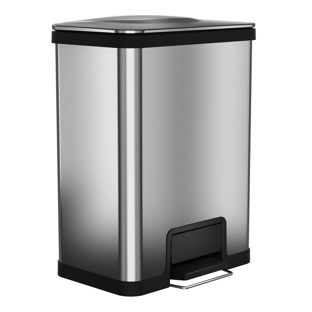Halo 13 Gal. AirStep Stainless Steel Trash Can with 16 in. Opening