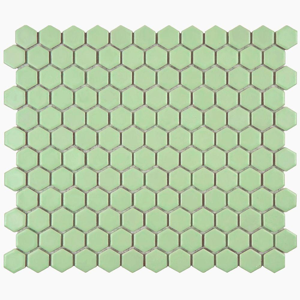 Merola Tile Metro Hex Matte Light Green 10-1/4 in. x 11-3/4 in. x 5 ...