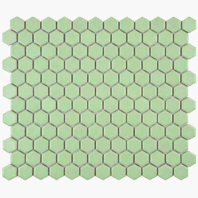 Metro Hex Matte Light Green 10-1/4 in. x 11-3/4 in. x 5 mm Porcelain Mosaic Tile (8.54 sq. ft. / case)