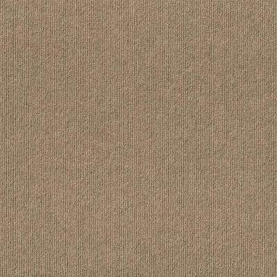 Taupe Ribbed Texture 18 in. x 18 in. Carpet Tile (16 Tiles/Case)