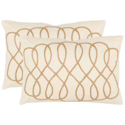 Suzy White and Wheat Geometric Down Alternative 13 in. x 19 in. Throw Pillow (Set of 2)