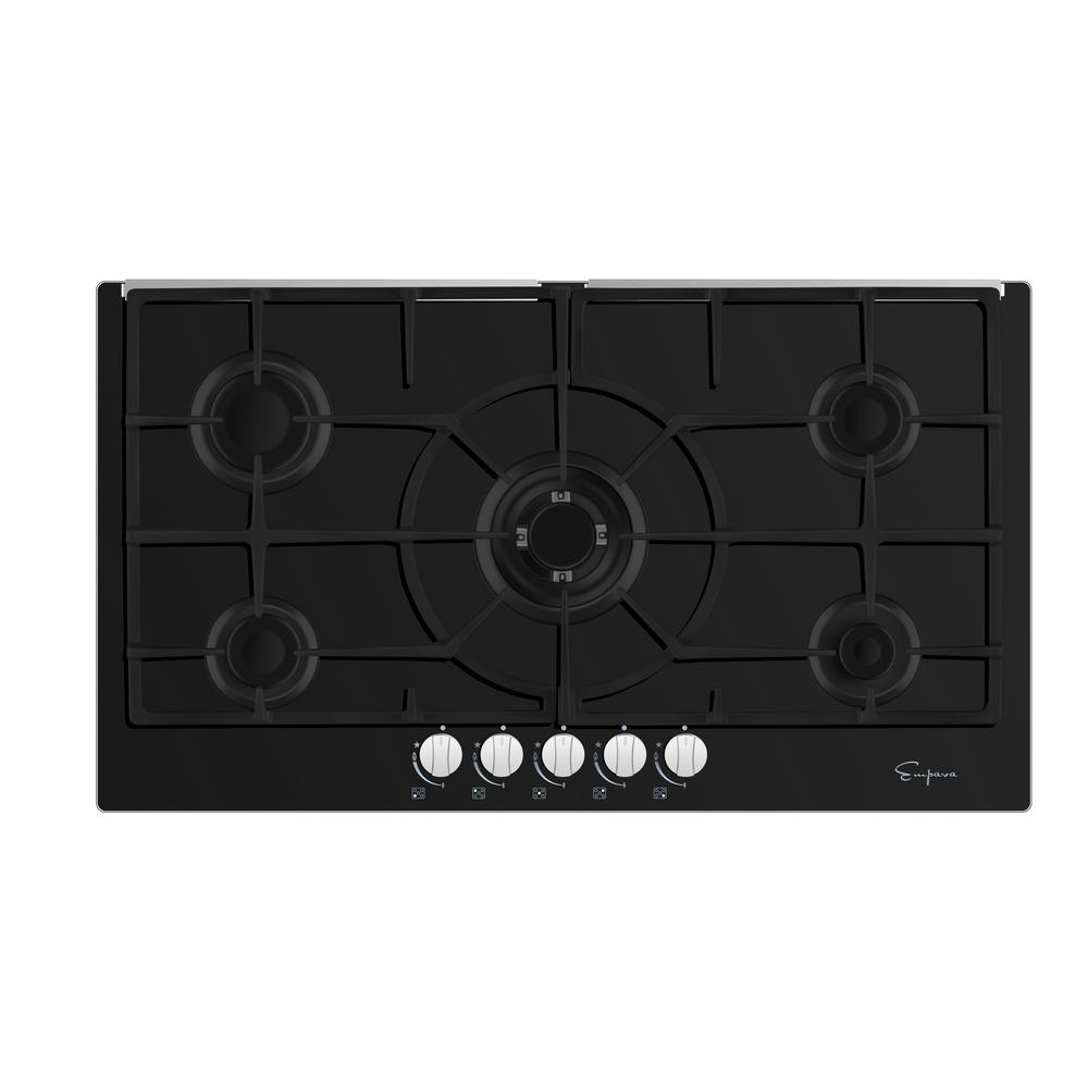 """Empava 36 in. Gas Stove Top Cooktop in Black Tempered Glass with 5 Italy Sabaf Burners The next high-end US & Canada CSA certified gas cooktop by Empava Appliances Inc., it's the real """"secret weapon"""" behind many great meals. Let this gas operated appliance give you the utmost in cooking flexibility and help you cook like a professional chef in your own home. Still hesitating? Check out the Empava electric induction cooktop and wall ovens as well! Color: Black."""