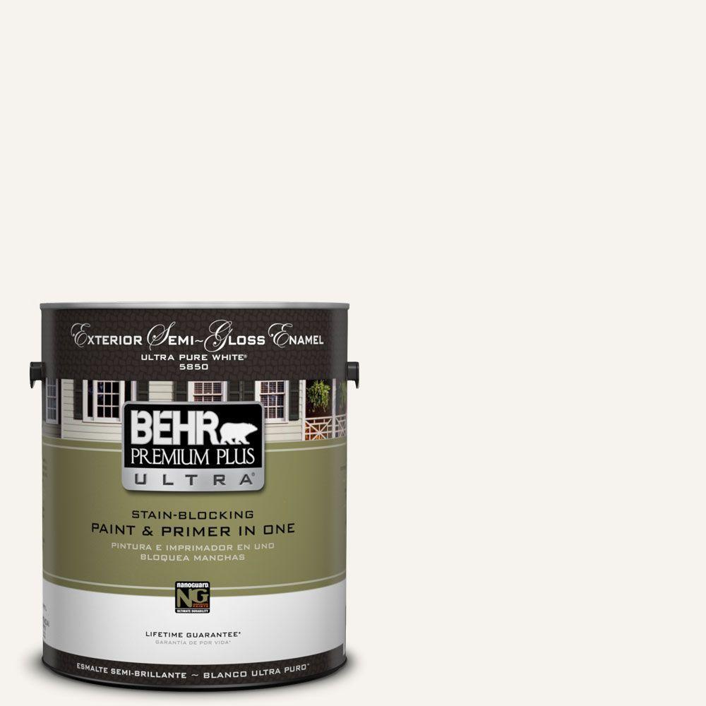 BEHR Premium Plus Ultra 1 gal. #75 Polar Bear Semi-Gloss Enamel Exterior Paint