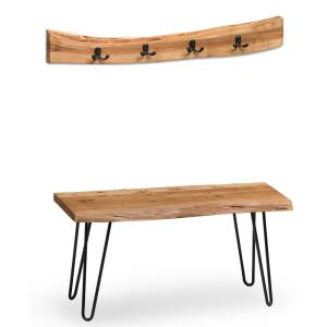 36 in. Hairpin Natural Live Edge Bench with Coat Hook Set
