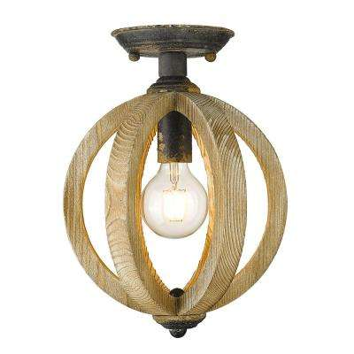 Naima 10.125 in. 1-Light Antique Black Iron Semi-Flush Mount