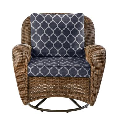 Beacon Park Brown Wicker Outdoor Patio Swivel Lounge Chair with CushionGuard Midnight Trellis Navy Blue Cushions