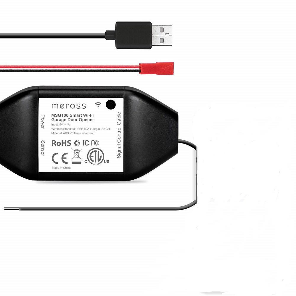 Meross Wi-Fi Smart Garage Door Opener Remote Compatible with Alex and Google Assistant in Black
