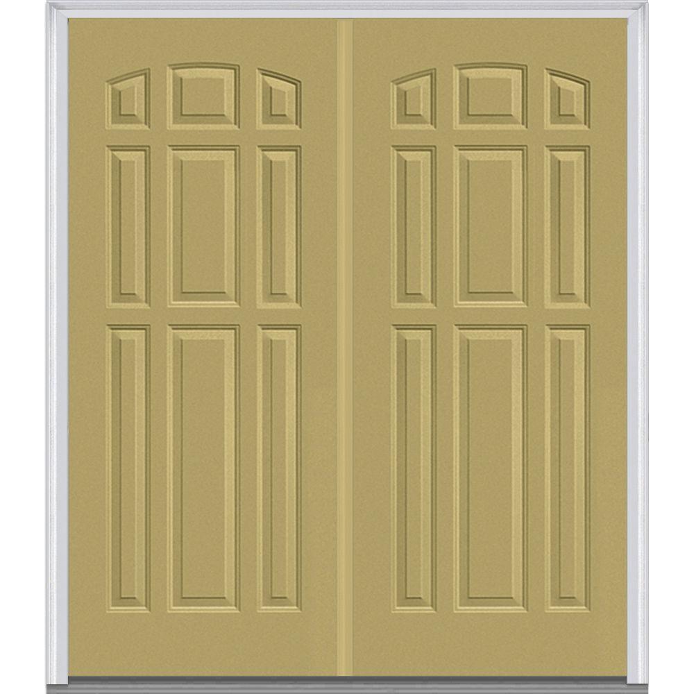 Mmi Door 74 In X In 9 Panel Painted Fiberglass Smooth Exterior Double Door Z018839r
