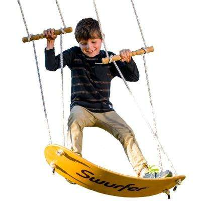 Swing-Board Stand-Up Wood Tree Swing with Rope