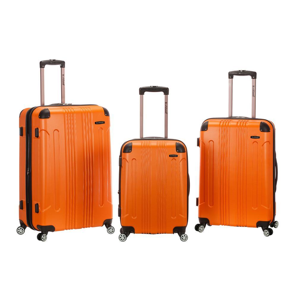 Rockland Sonic 3-Piece Hardside Spinner Luggage Set, Orange