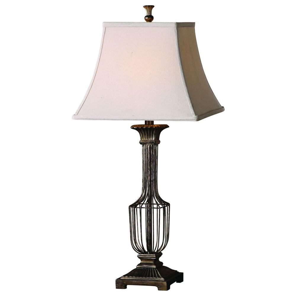 Global Direct 31 in. Champagne Antiqued Gold Leaf Table Lamp-DISCONTINUED