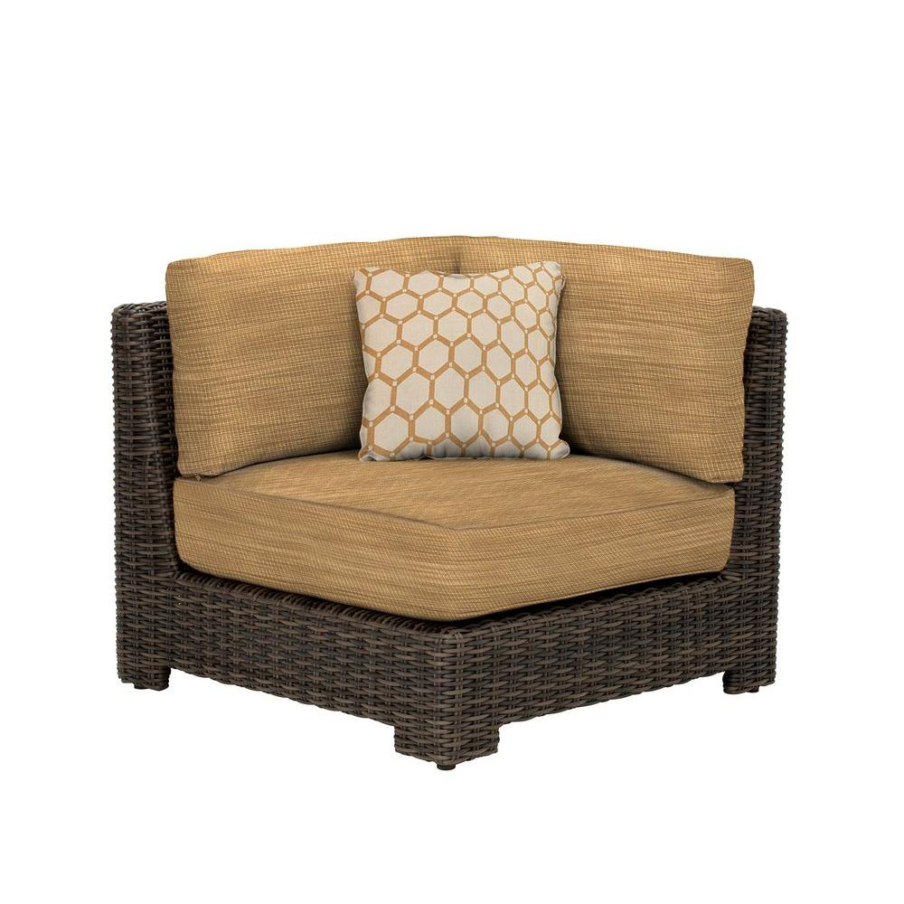 Northshore Corner Patio Sectional Chair with Toffee Cushion and Tessa Barley