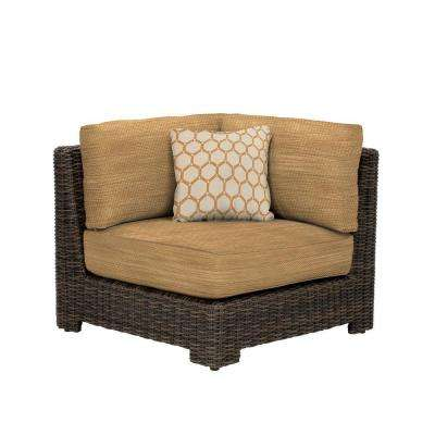 Northshore Corner Patio Sectional Chair with Toffee Cushion and Tessa Barley Throw Pillow -- CUSTOM