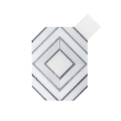 Balancing Act White 8.75 in. x 11.375 in. Geometric Polished Marble Wall and Floor Mosaic Tile (0.691 sq. ft./Each)