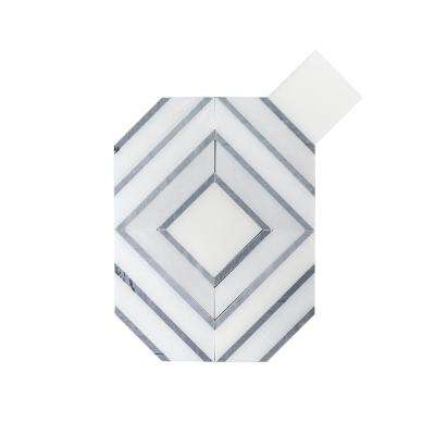 Balancing Act White Interlocking 11.5 in. x 8.75 in. x 8 mm Polished Natural Stone Mosaic Floor and Wall Tile