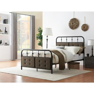 78.5 in. Matte Black Metal Bed Frame Full Size with Headboard and Footboard Platform, Metal Tube and Modern Iron-Art Bed