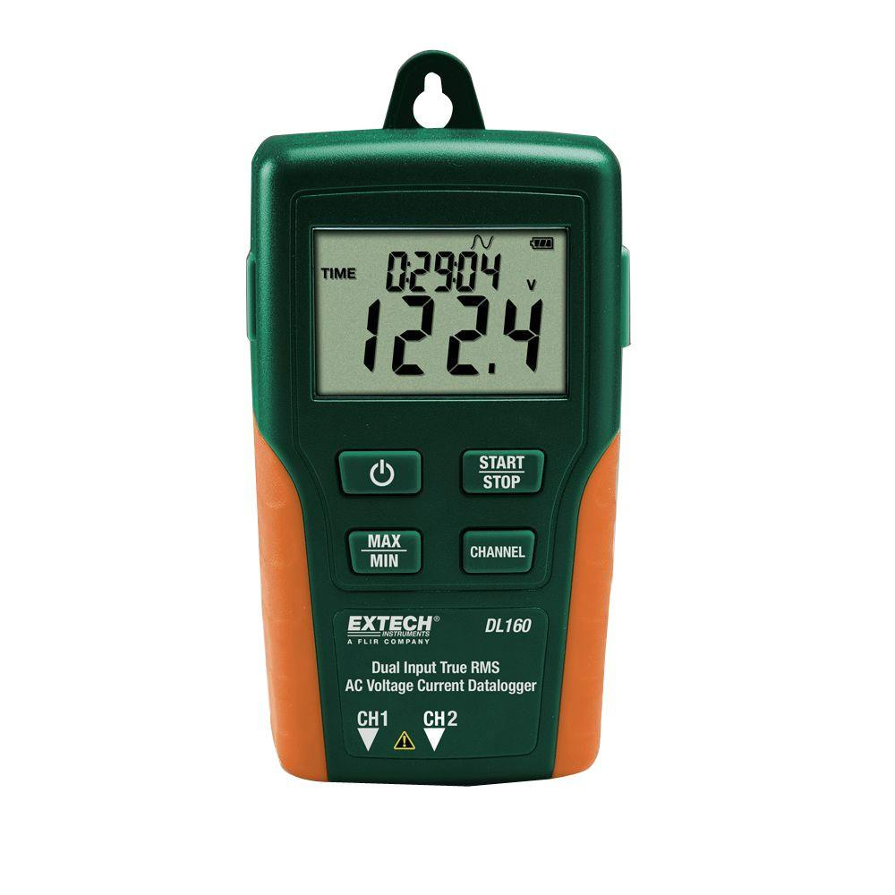 Extech Instruments Dual Input True RMS AC Voltage/Current Data Logger The DL160 is a Dual Input True RMS AC Voltage/Current Data logger. Simultaneously data log 2 channels of up to 256,000 readings of TRMS AC Voltage (600V) or Current (200A) or one AC Voltage and one AC Current input with a user programmable sample rate from 1 second to 24 hours. LCD displays time/date, current reading, and min/max. Readings can be downloaded to your PC via the USB interface. Featuring Normal, Peak, and Capture (user specified trigger level) recording modes. Complete with 2 current clamps, two sets of test leads, 2 sets of alligator clips, software, USB cable, Universal AC Adapter, and 4 x AAA and 2 x CR2032 Batteries.
