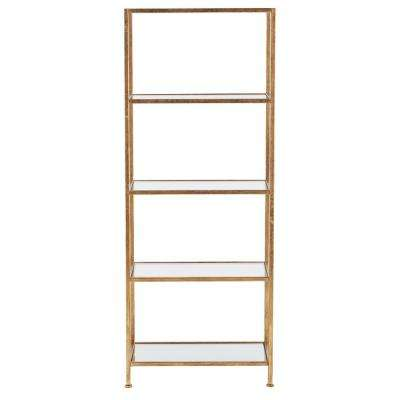 Bella Aged 24 in. Wide Gold Glass Bookcase