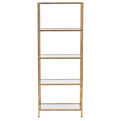Home Decorators Collection Bella Aged 24 in. Wide Gold Glass Bookcase, Aged Gold