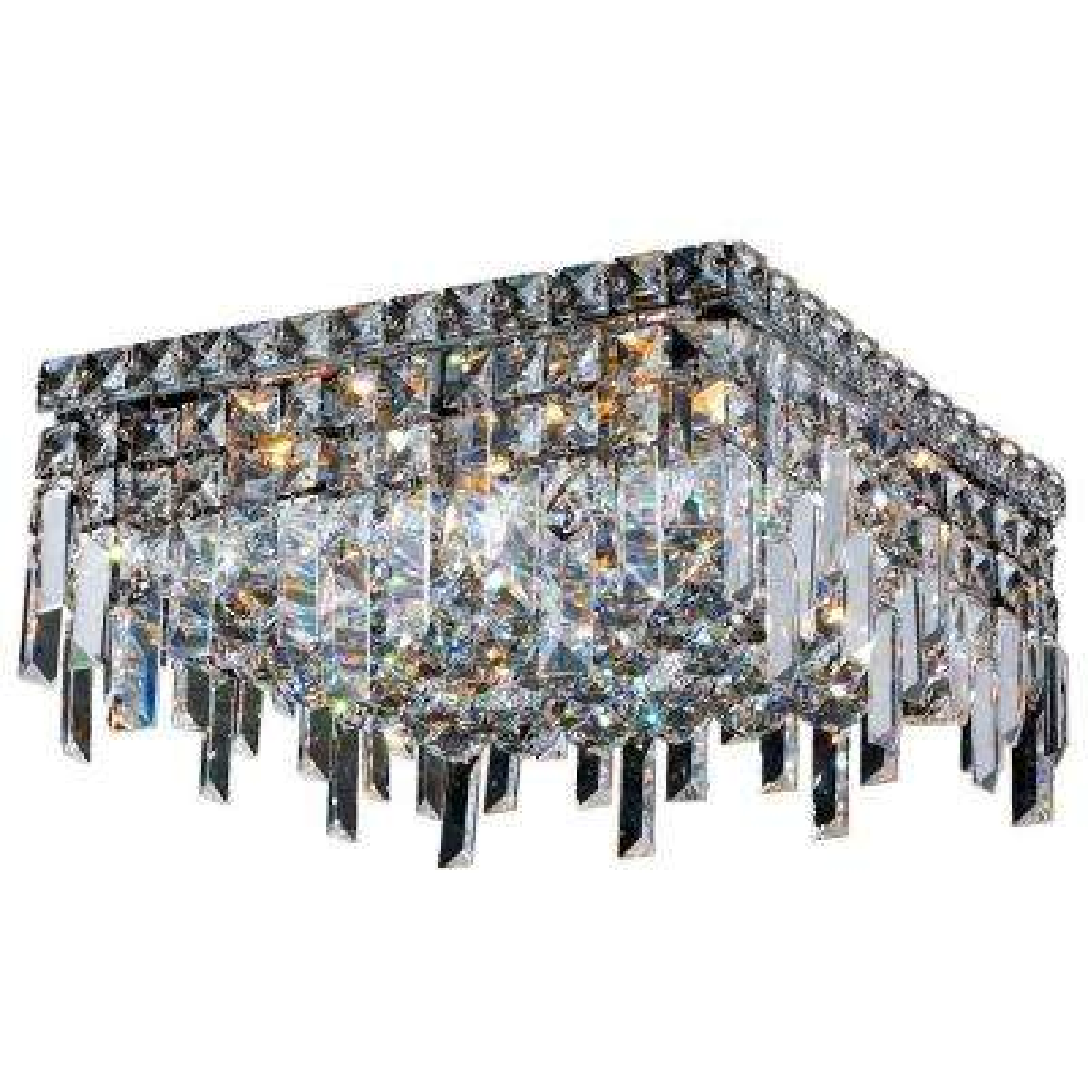 Cascade Collection 5-Light Chrome Crystal Flushmount