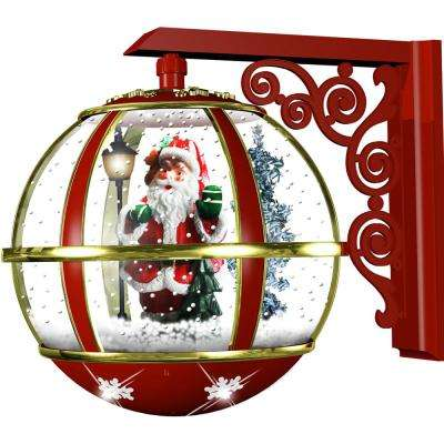 16 in. Musical Wall-Mount Globe Featuring Santa Scene and Snow Function