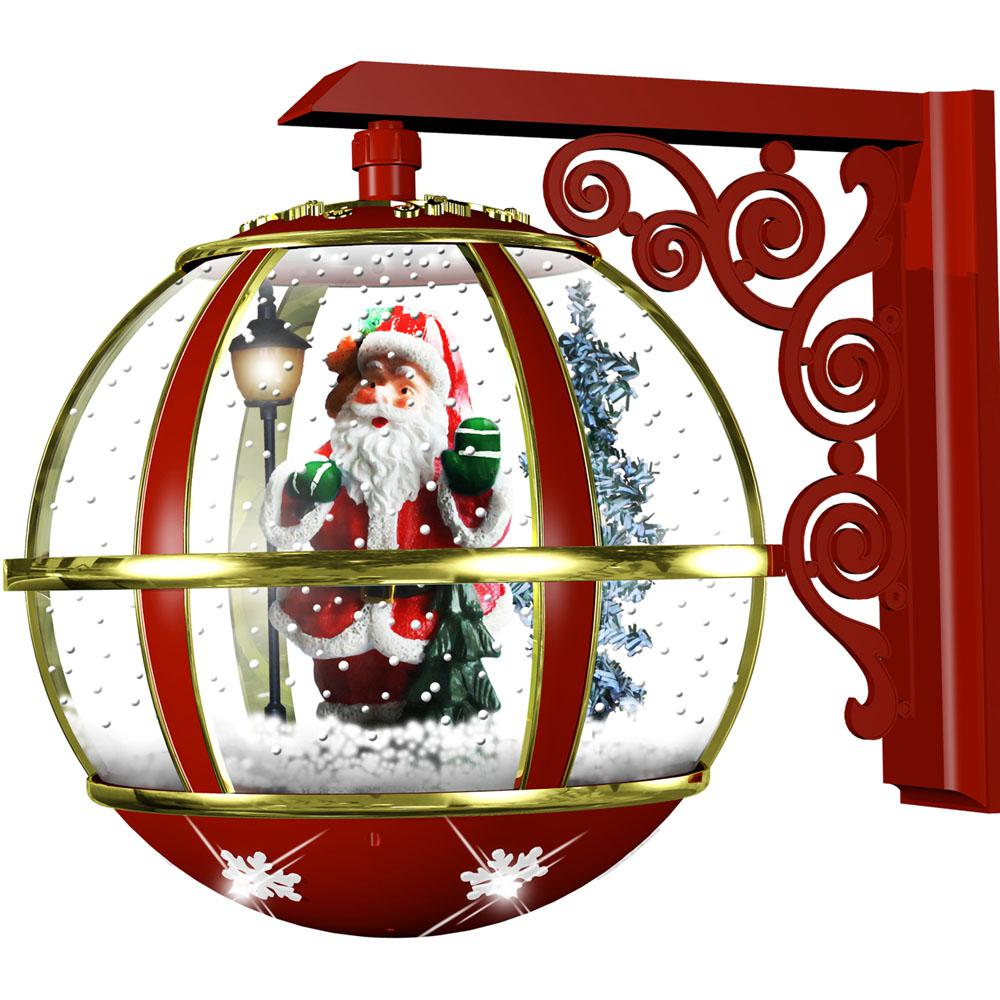Fraser Hill Farm 16 in. Musical Wall-Mount Globe Featuring Santa Scene and Snow Function