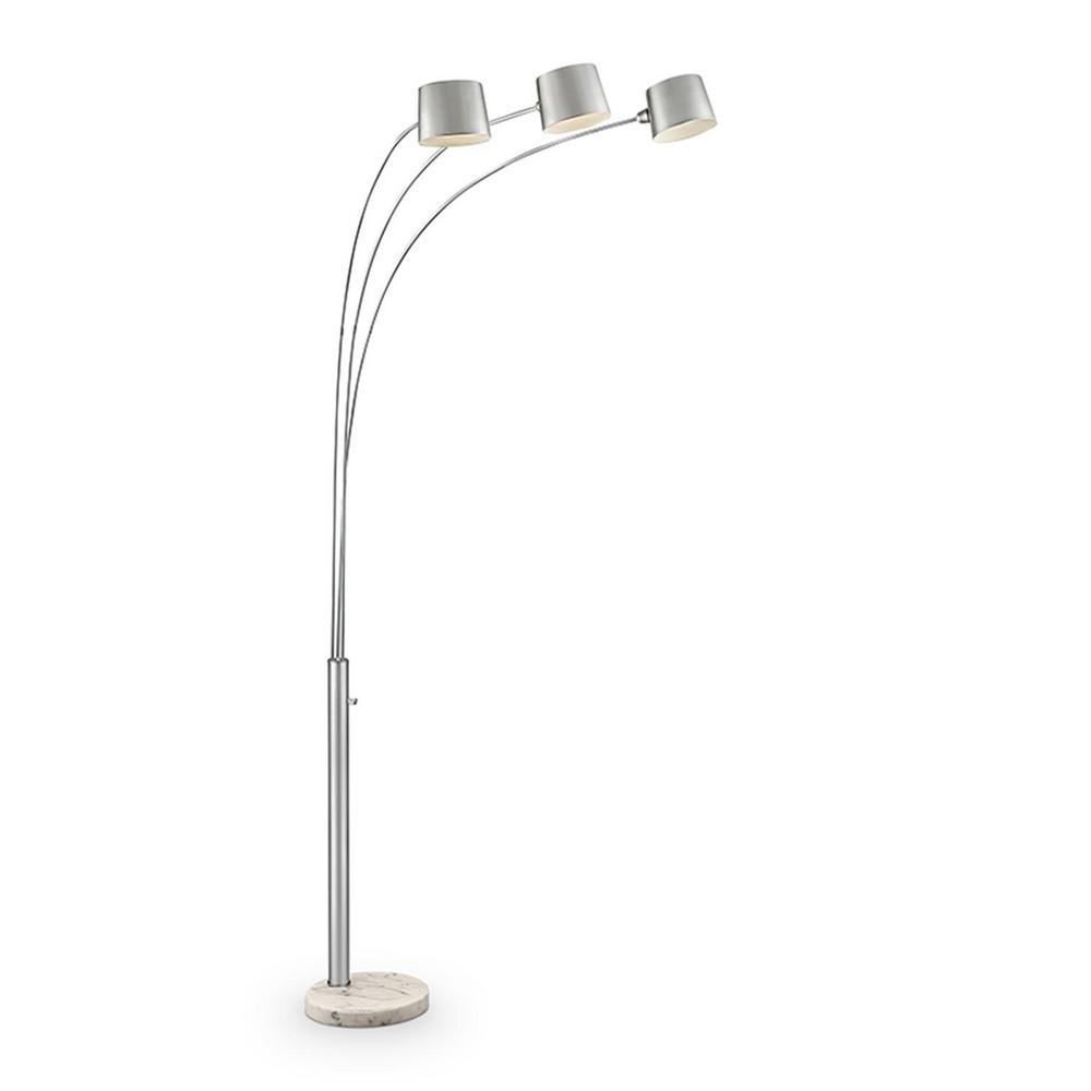 Ore International Nova 81 In Silver 3 Arc Floor Lamp K