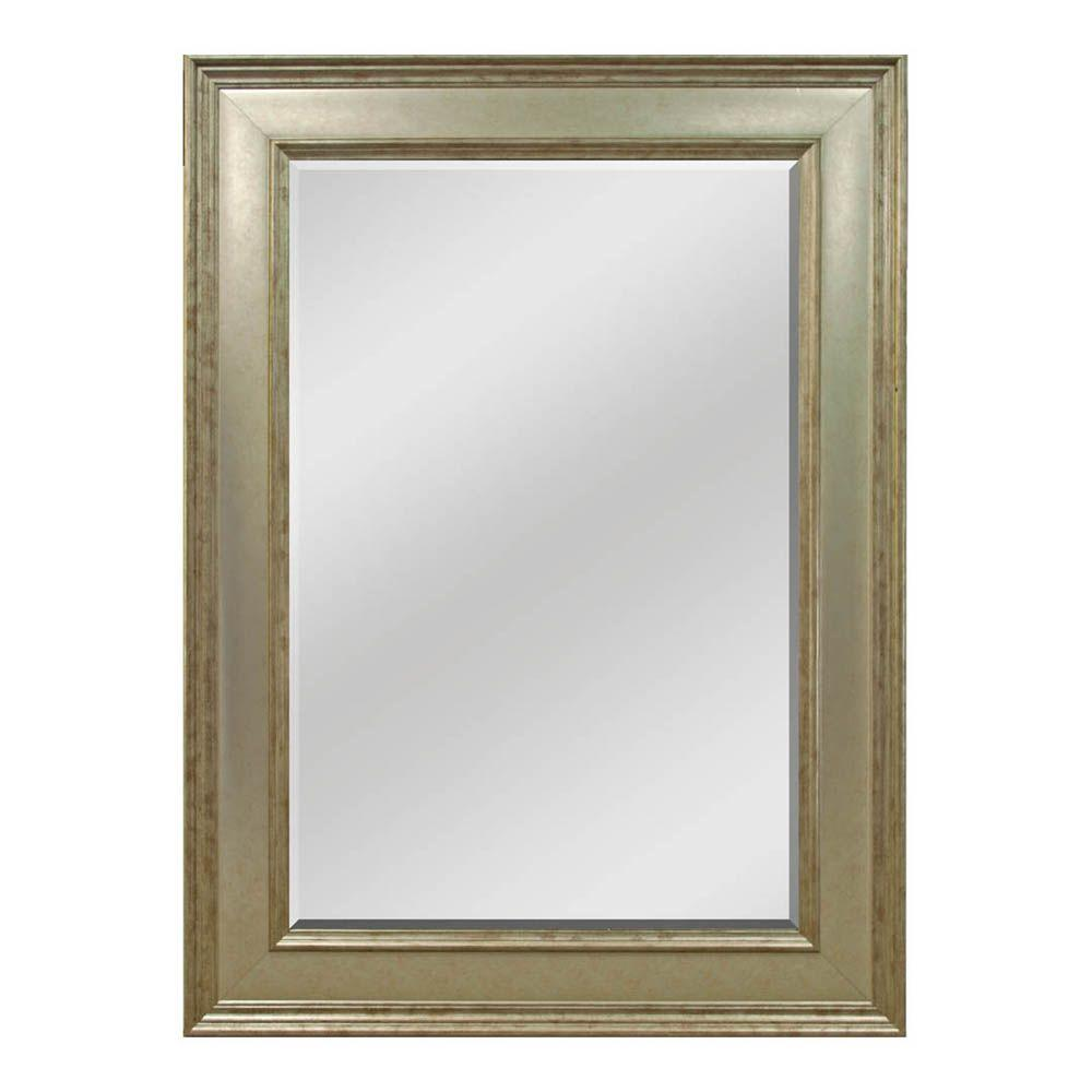 Home Decorators Collection 33-1/2 in. H x 45-1/2 in. W Pewter Framed Wall Mirror-DISCONTINUED