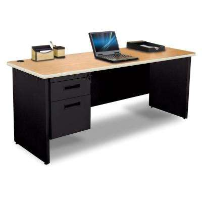 72 in. W x 24 in. D Oak Laminate and Black  Single Pedestal Credenza