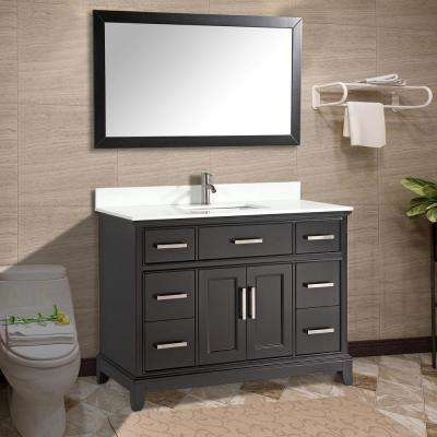 Genoa 60 in. W x 22 in. D x 36 in. H Bath Vanity in Espresso with Vanity Top in White with White Basin and Mirror