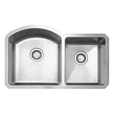 Noah's Collection Undermount Brushed Stainless Steel 37-7/8 in. 0-Hole Double Bowl Kitchen Sink