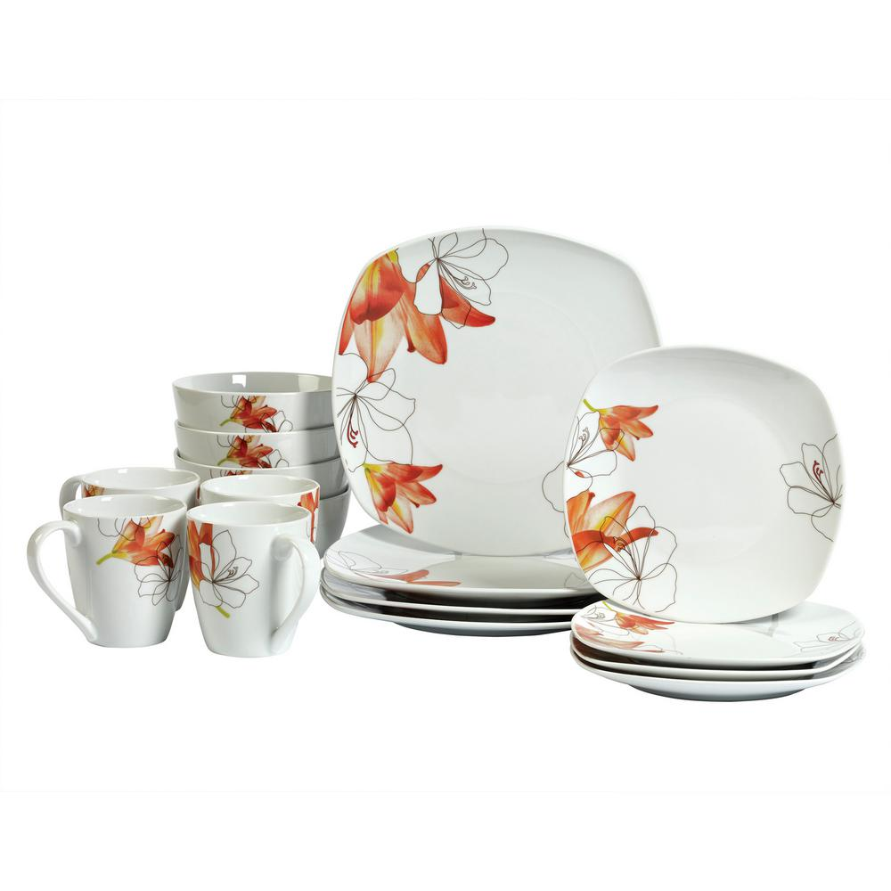 Tabletops Gallery Dinner Set 16-Piece White and Floral Pattern Dinnerware Set Lily  sc 1 st  The Home Depot & Tabletops Gallery Dinner Set 16-Piece White and Floral Pattern ...
