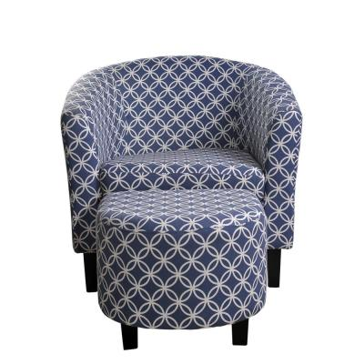 Paisley Dark Blue Tub Chair with Ottoman