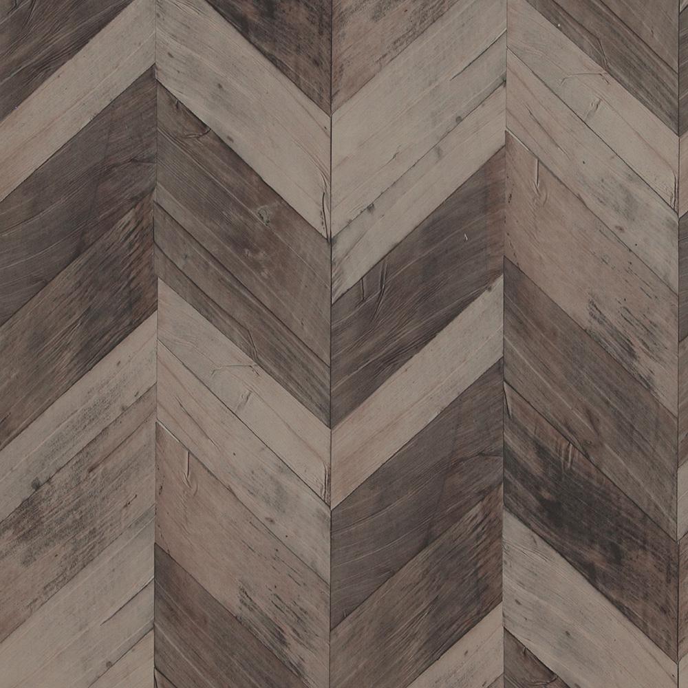 Wood Weathered Herringbone Dark Brown Wallpaper
