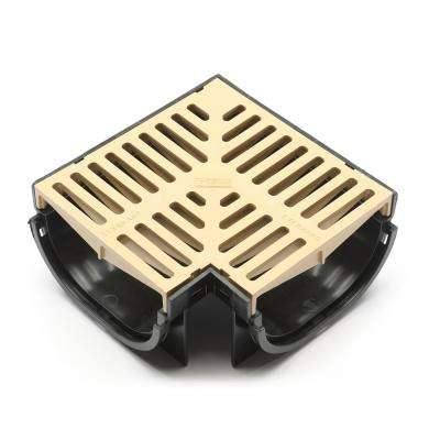 Compact Series 90 Corner for 3.2 in. D Trench and Channel Drain Systems in Black with Sandstone Grate