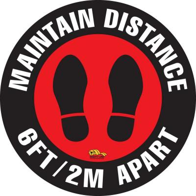16 in. Maintain Safe Distance Floor Sign