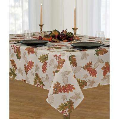Elrene Swaying Leaves 60 in. W x 144 in. L Ivory Polyester Fabric Tablecloth