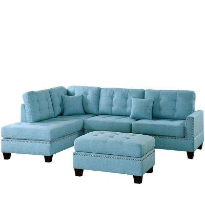 Barcelona 3 Piece Navy Sectional Sofa With Ottoman