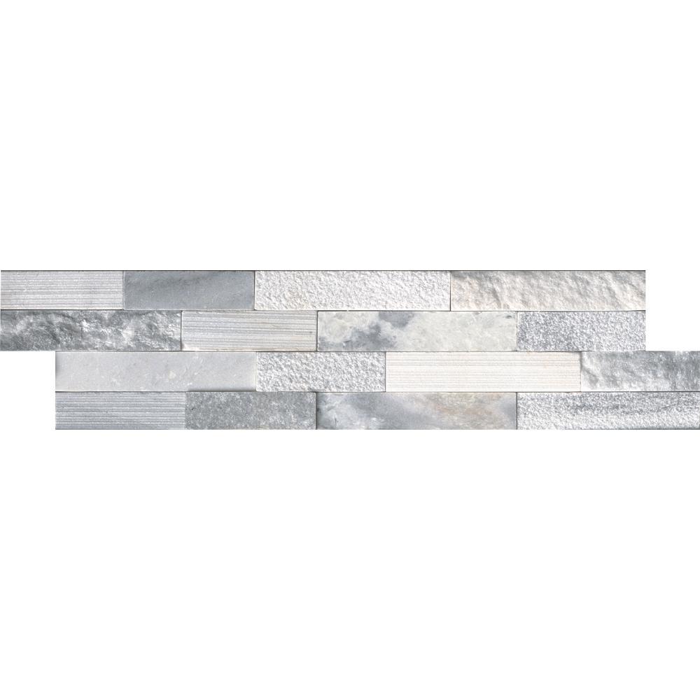 Alaska Gray Ledger Panel 6 in. x 24 in. Multi-Finish Natural Marble Wall Tile (10 cases / 60 sq. ft. / pallet)