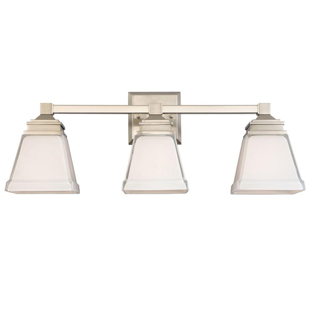 Hampton Bay Vanity Light Brushed Nickel : Hampton Bay Landray 3-Light Brushed Nickel Vanity Light with Frosted Glass Shades-HJC1393A-3 ...