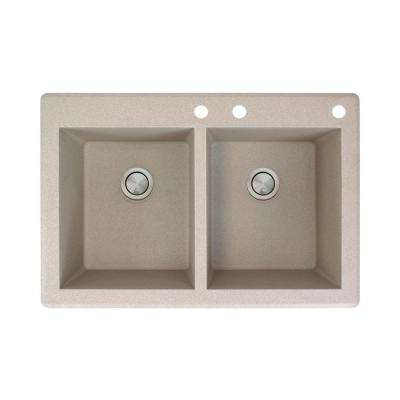 Radius Drop-in Granite 33 in. 3-Hole Equal Double Bowl Kitchen Sink in Cafe Latte