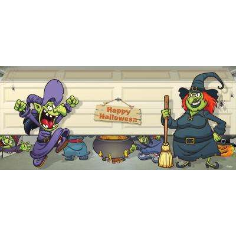7 ft. x 16 ft. Halloween Witch Escape Outdoor Halloween Holiday Garage Door Decor Mural for Double Car Garage